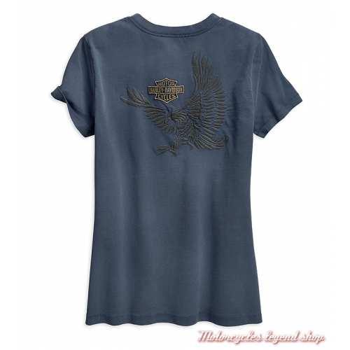 Tee-shirt Eagle Harley-Davidson femme, bleu indigo, col v, manches courtes, coton, dos, 96865-19VW