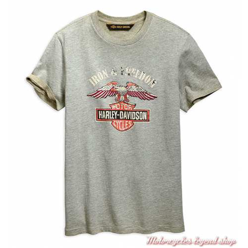 Tee-shirt Iron & Freedom Harley-Davidson homme, gris délavé, manches courtes, coton, 96667-19VM