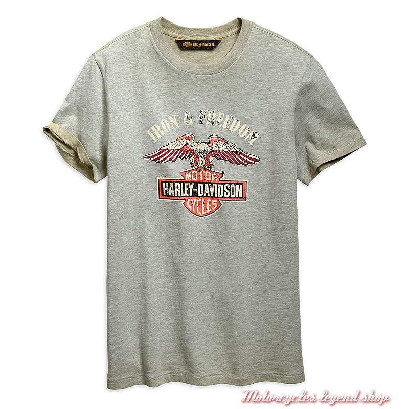 Tee-shirt Iron & Freedom Harley-Davidson homme, gris délavé, manches courtes, coton, 96667-19VM