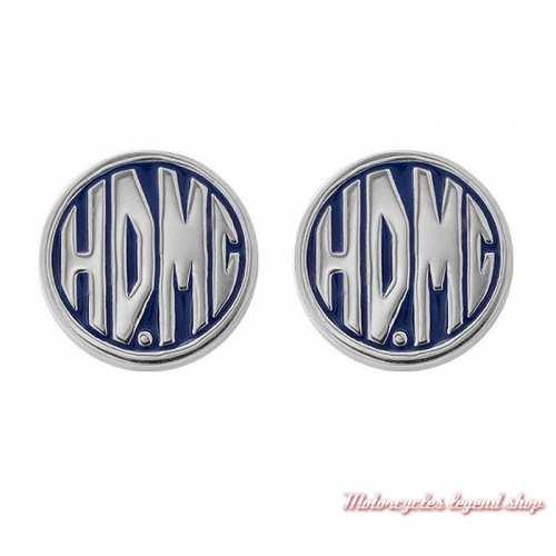 Boucles d'oreilles HDMC Harley-Davidson, argent, émail bleu, HDE0490