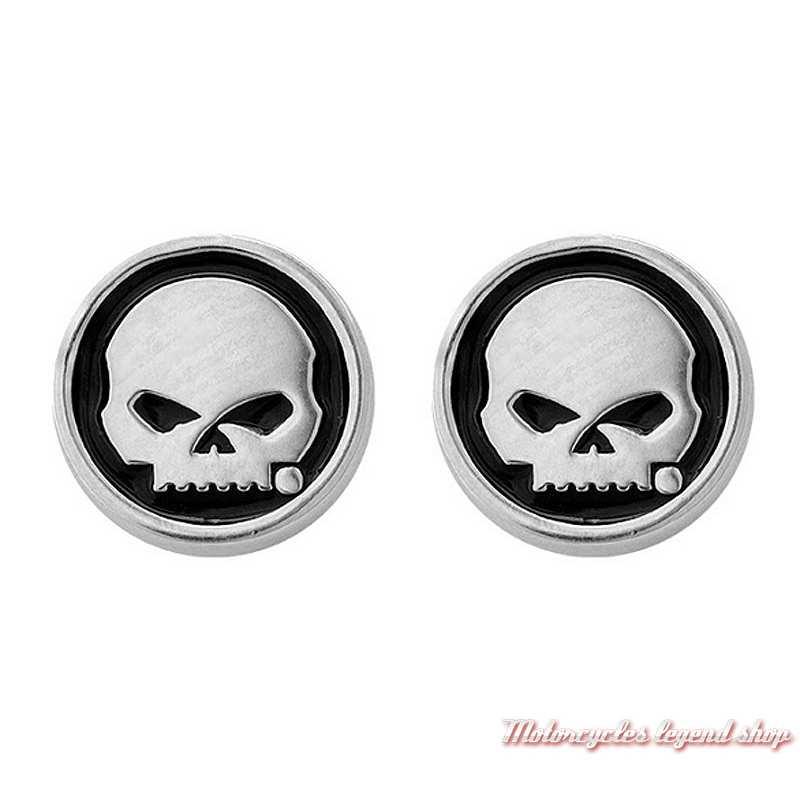 Boucles d'oreilles Skull Harley-Davidson, argent, émail noir, HDE0499