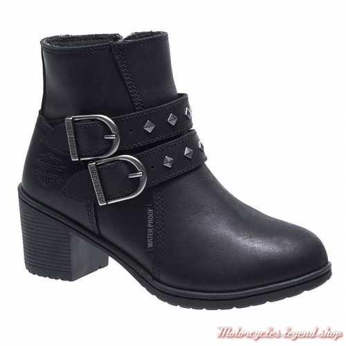 Bottines Abney Harley-Davidson femme, cuir noir, à talon, waterproof, homologués CE, D86037