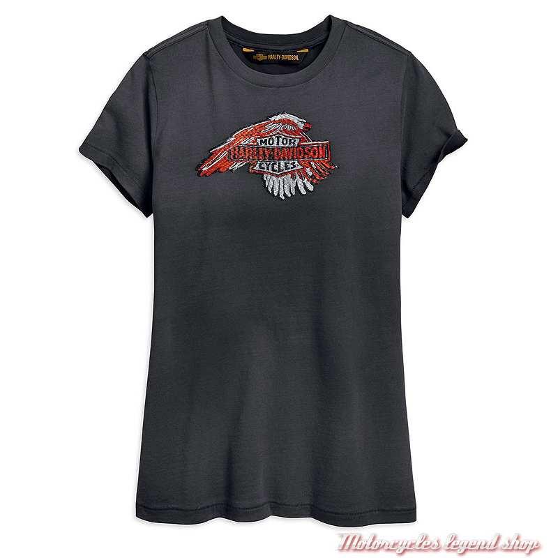 Tee-shirt Sublimed Eagle Harley-Davidson femme, noir, manches courtes, coton, 96839-19VW