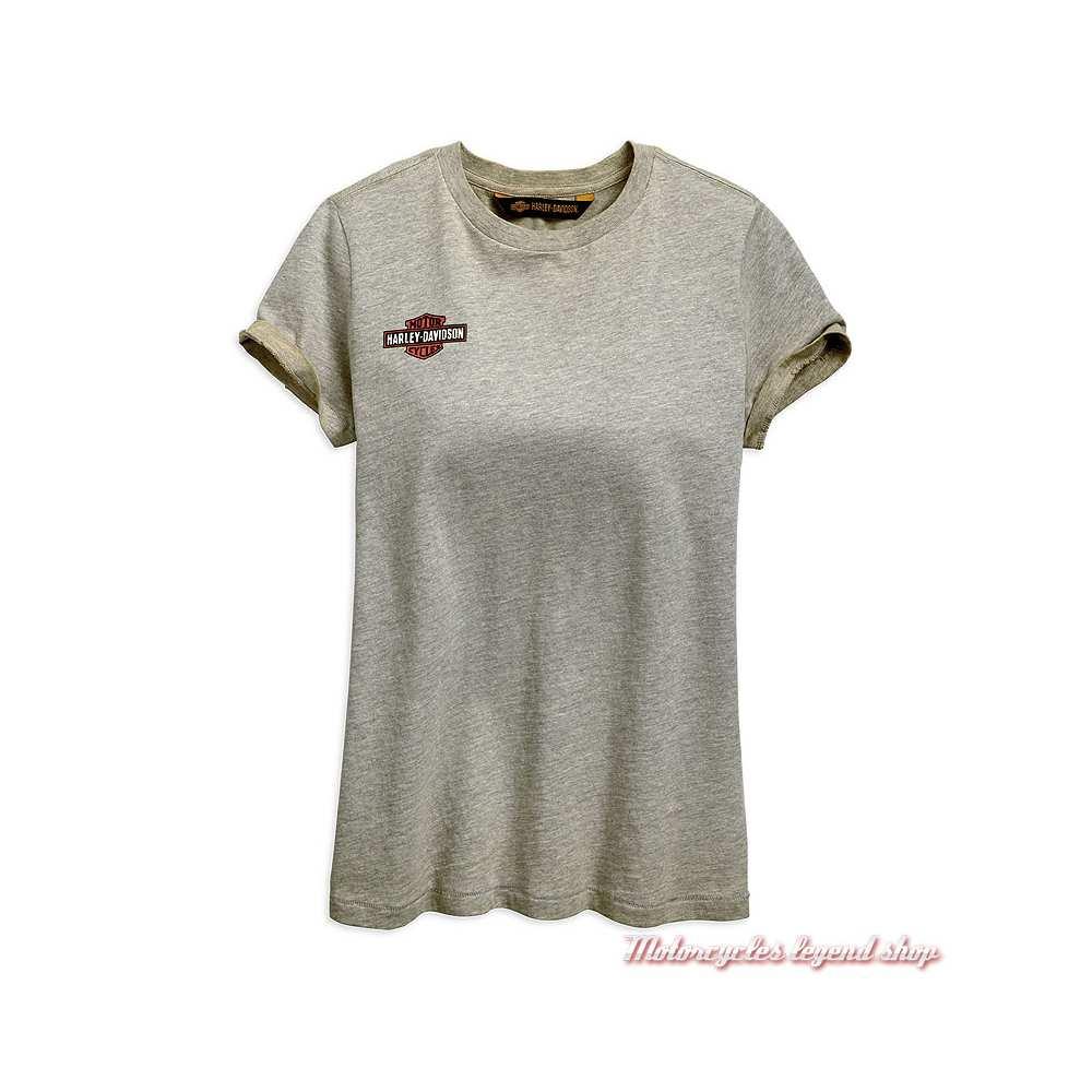 Tee-shirt Iron & Freedom Harley-Davidson femme, gris délavé, manches courtes, coton, 96893-19VW