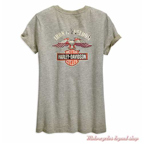 Tee-shirt Iron & Freedom Harley-Davidson femme, gris délavé, manches courtes, coton, dos, 96893-19VW