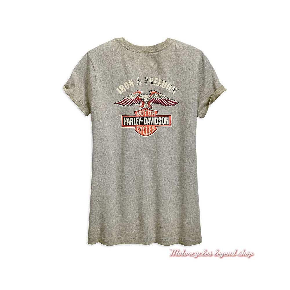 Tee-shirt Iron & Freedom Harley-Davidson femme, gris délavé, manches courtes, coton, dos, 96893-19VW