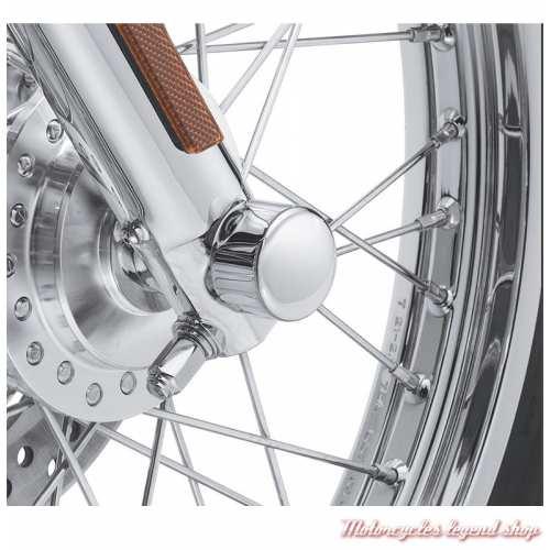 Caches écrous axes de roue avant Harley-Davidson, chrome, visuel, 44116-07A