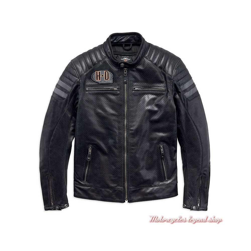Blouson cuir Hutto Harley-Davidson homme, noir, microperforé, 97033-19EM