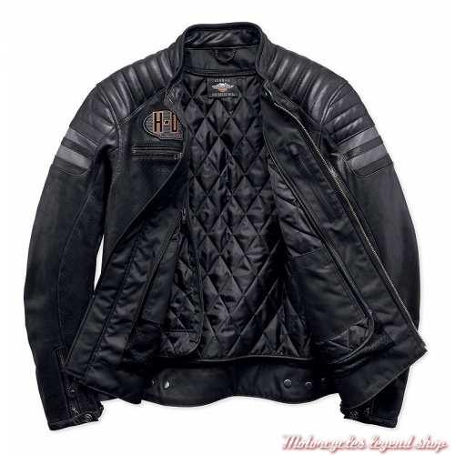 Blouson cuir Hutto Harley-Davidson homme, noir, microperforé, 97033-19EM-2