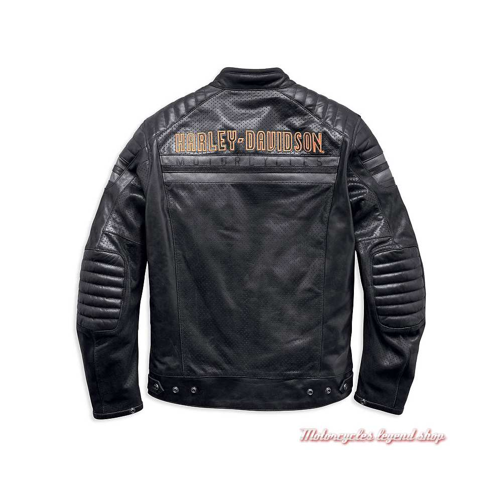 Blouson cuir Hutto Harley-Davidson homme, noir, microperforé, dos, 97033-19EM