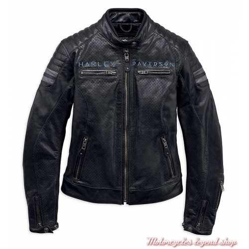 73ba5f224c Blouson cuir Wimberley Harley-Davidson femme, noir, microperforé, ...