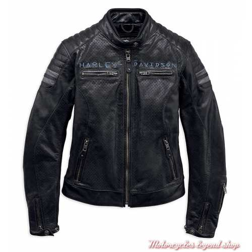 Blouson cuir Wimberley Harley-Davidson femme, noir, microperforé, 97037-19EW