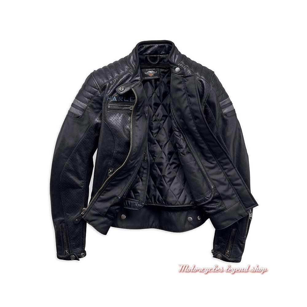 Blouson cuir Wimberley Harley-Davidson femme, noir, microperforé, 97037-19EW-2