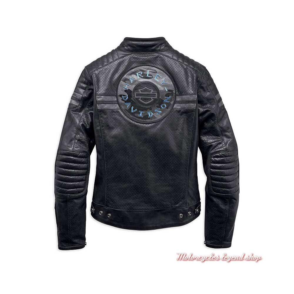 Blouson cuir Wimberley Harley-Davidson femme, noir, microperforé, dos, 97037-19EW