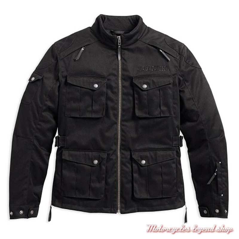 Blouson textile Messenger Harley-Davidson homme, noir, coton, polyester, déperlant, homologué CE, 98161-17EM