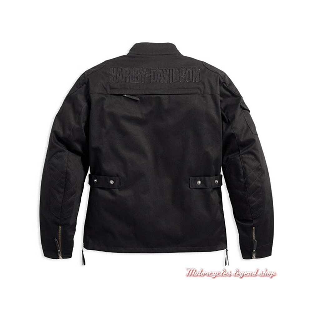 Blouson textile Messenger Harley-Davidson homme, noir, coton, polyester, déperlant, homologué CE, dos, 98161-17EM