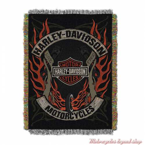 Plaid tissé Outlaw Harley-Davidson, polyester, noir orange, 992900