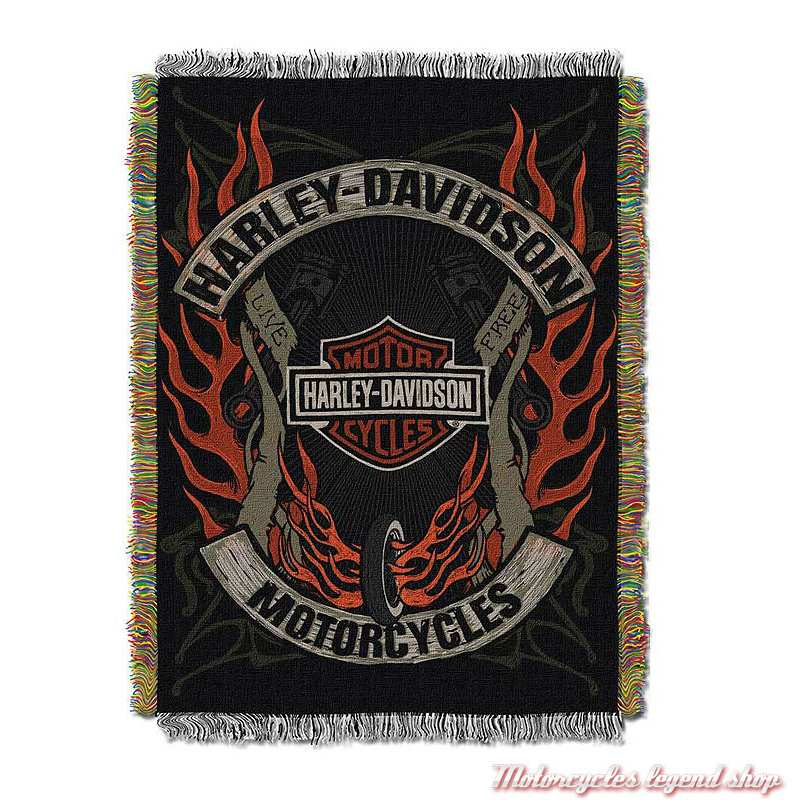 Plaid tissé Outlaw Harley-Davidson, polyester, noir orange, 992900