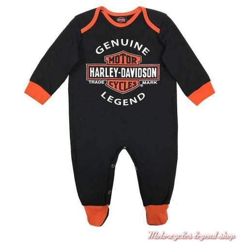 Pyjama grenouillère bébé garçon Harley-Davidson, coton, noir, orange, 3050911