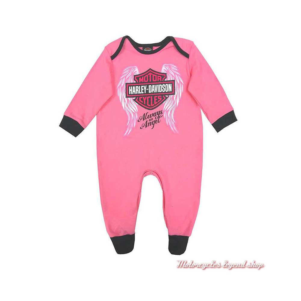 Pyjama grenouillère bébé fille Harley-Davidson, coton, rose, noir, 3000913