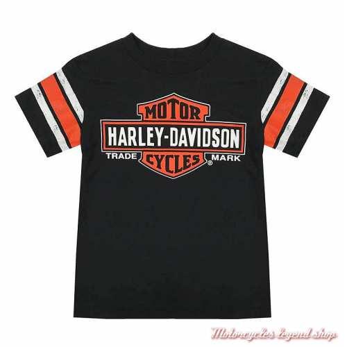 Tee-shirt Genuine garçon Harley-Davidson, noir, orange, coton, manches courtes