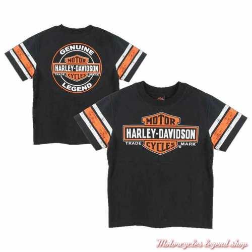 Tee-shirt Genuine garçon Harley-Davidson, noir, orange, coton, manches courtes, dos