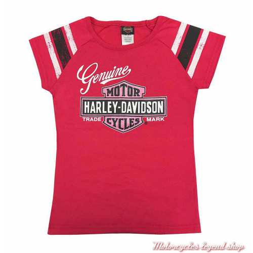 Tee-shirt Genuine fille Harley-Davidson, rose, coton, manches courtes