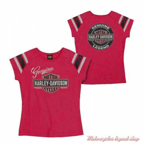 Tee-shirt Genuine fille Harley-Davidson, rose, coton, manches courtes, dos