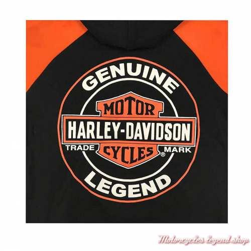 Sweatshirt Genuine garçon Harley-Davidson, zippé, capuche, noir, orange, coton, polyester, dos