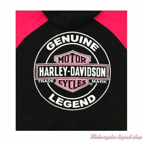 Sweatshirt Genuine fille Harley-Davidsonzippé, capuche, noir, rose, coton, polyester, dos