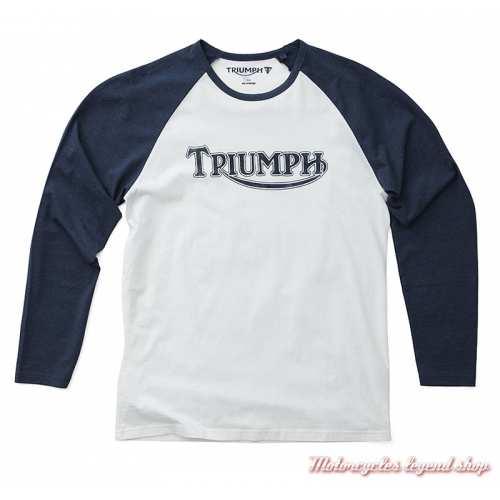 Tee-shirt manches longues Logo Triumph homme, bleu, blanc, coton, MTLS19E03