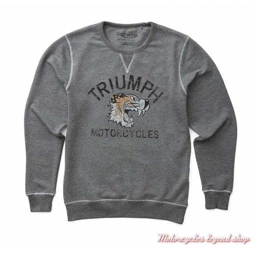 Sweatshirt Dylan Triumph Tiger homme, gris, col rond, vintage, MSWS19E15