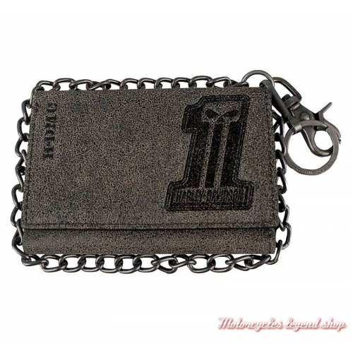 Portefeuille chaine One Garage Harley-Davidson, homme, cuir marron vieilli, 3 volets, BG1100-TANBLK