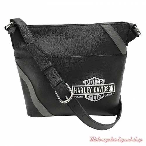 Sac à main Vintage Bar & Shield Harley-Davidson, cuir noir, gris, VBS6214-GRYBLK