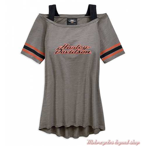 Tee-shirt Striped Harley-Davidson femme, gris, col bateau, manches courtes, 96815-19VW