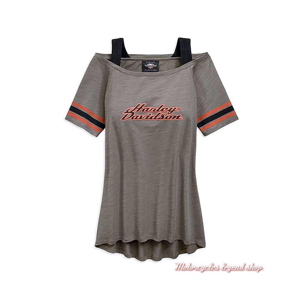 Tee-shirt Striped Harley-Davidson femme, gris, col bateau, manches courtes, 96815-19VW