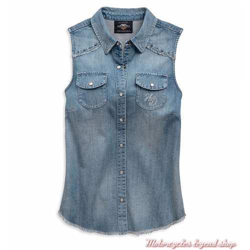 Chemise sans manche Flag Harley-Davidson femme, jean bleu clair, 96808-19VW