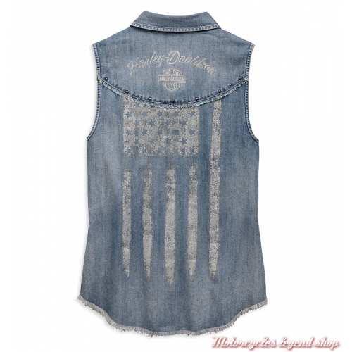 Chemise sans manche Flag Harley-Davidson femme, jean bleu clair, dos, 96808-19VW