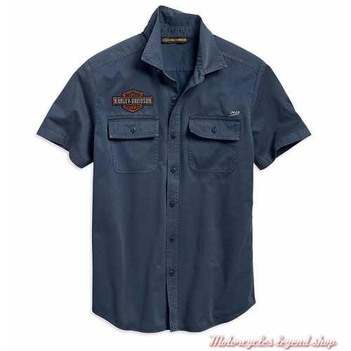 Chemisette Iron & Freedom Harley-Davidson homme, bleu délavé, coton, 96001-19VM