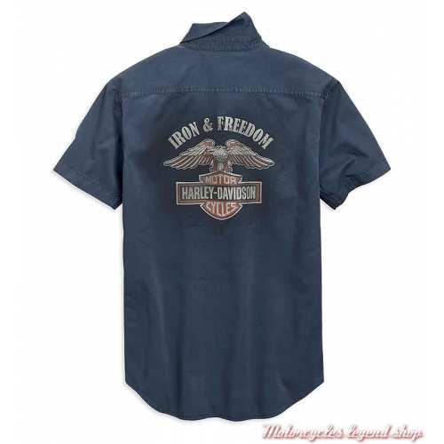 Chemisette Iron & Freedom Harley-Davidson homme, bleu délavé, coton, dos, 96001-19VM