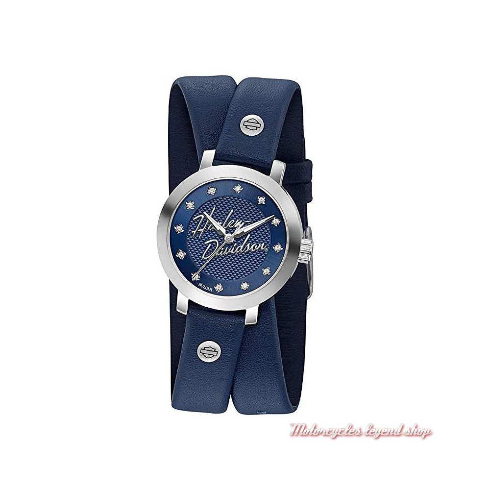 Montre Swarovski Blue Harley-Davidson femme, bracelet cuir double bleu, 76L189