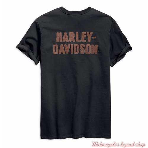 Tee-shirt Logo brodé Harley-Davidson homme, noir, manches courtes, coton, dos, 96791-19VM
