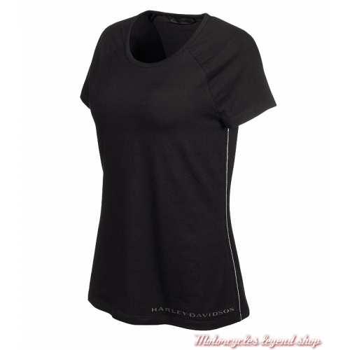 Tee-shirt Vertical Graphic Harley-Davidson femme, noir, manches courtes, H-D Moto, 96896-19VW