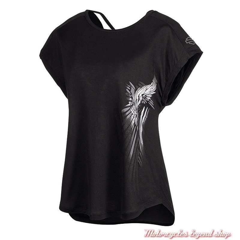 Tee-shirt Crossback Harley-Davidson femme, noir, dos col V, manches courtes, 96733-19VW