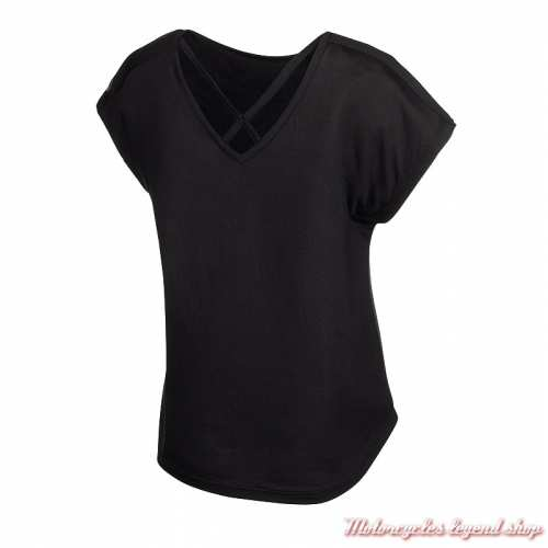 Tee-shirt Crossback Harley-Davidson femme, noir, dos col V, manches courtes, dos, 96733-19VW
