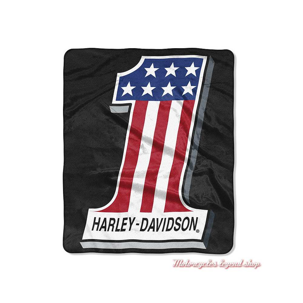 Plaid One Logo Harley-Davidson, polyester doux, noir, rouge, bleu, blanc, 130 x 150 cm, 949140