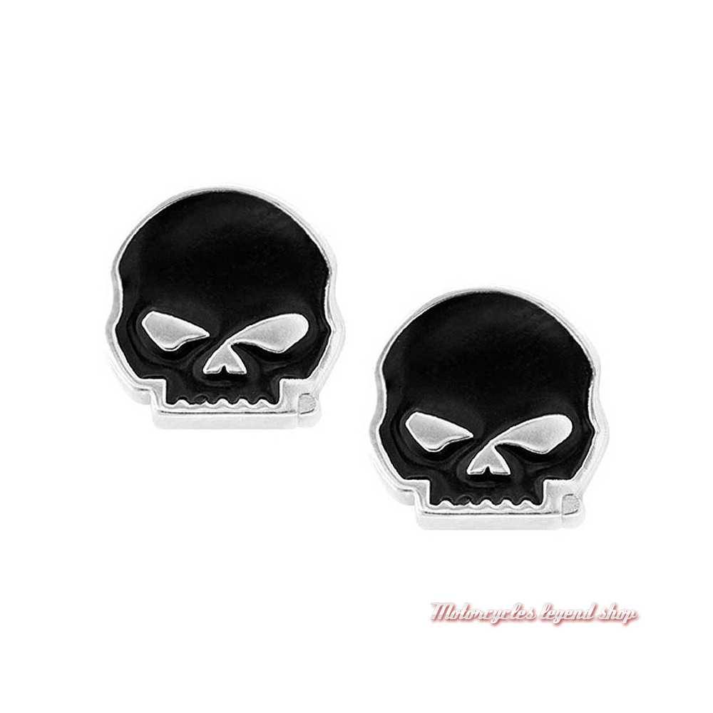 Boucles d'oreilles Skull Willie G. Harley-Davidson, argent, émail noir, HDE0488