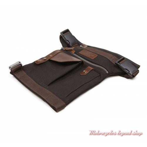 Sacoche de jambe Helstons, noir marron, toile et cuir