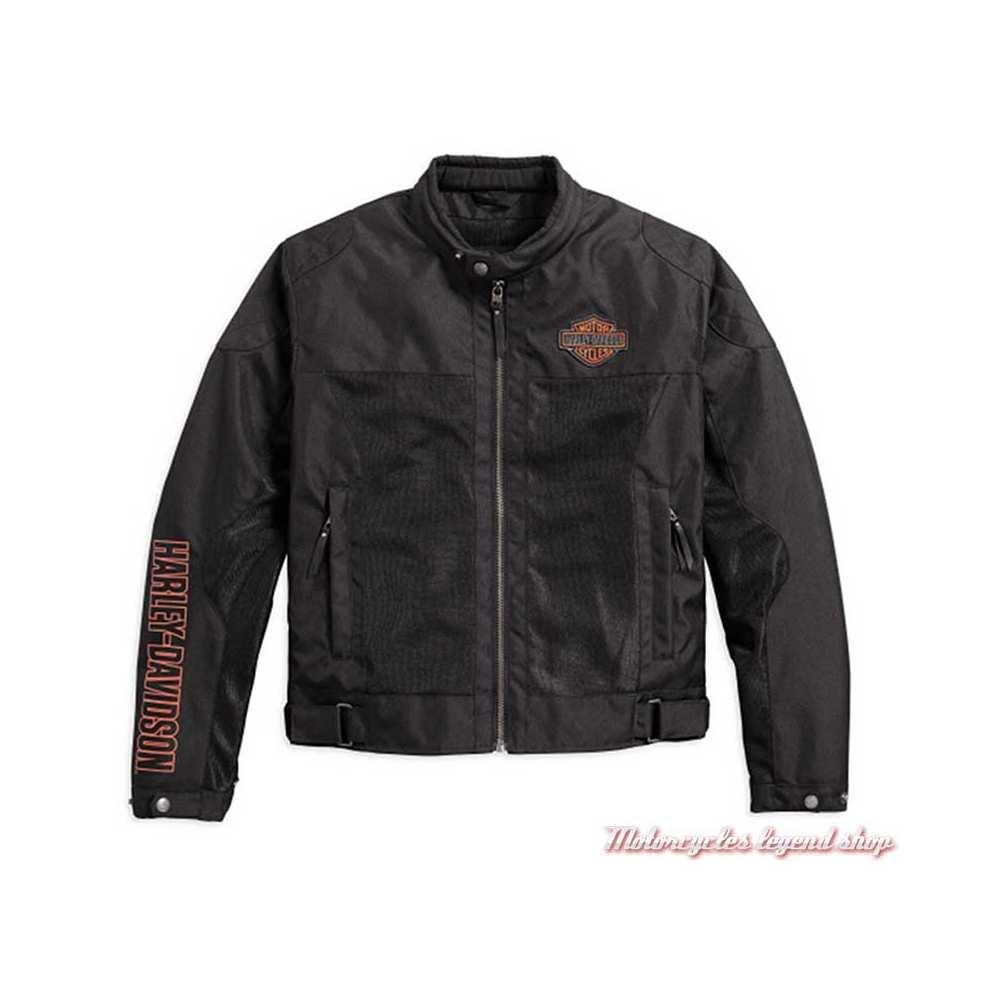 Blouson été textile mesh Bar & Shield Harley-Davidson homme, noir, léger, homologué, 98162-17EM