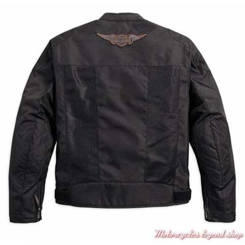 Blouson été textile mesh Bar & Shield Harley-Davidson homme, noir, léger, homologué, dos, 98162-17EM